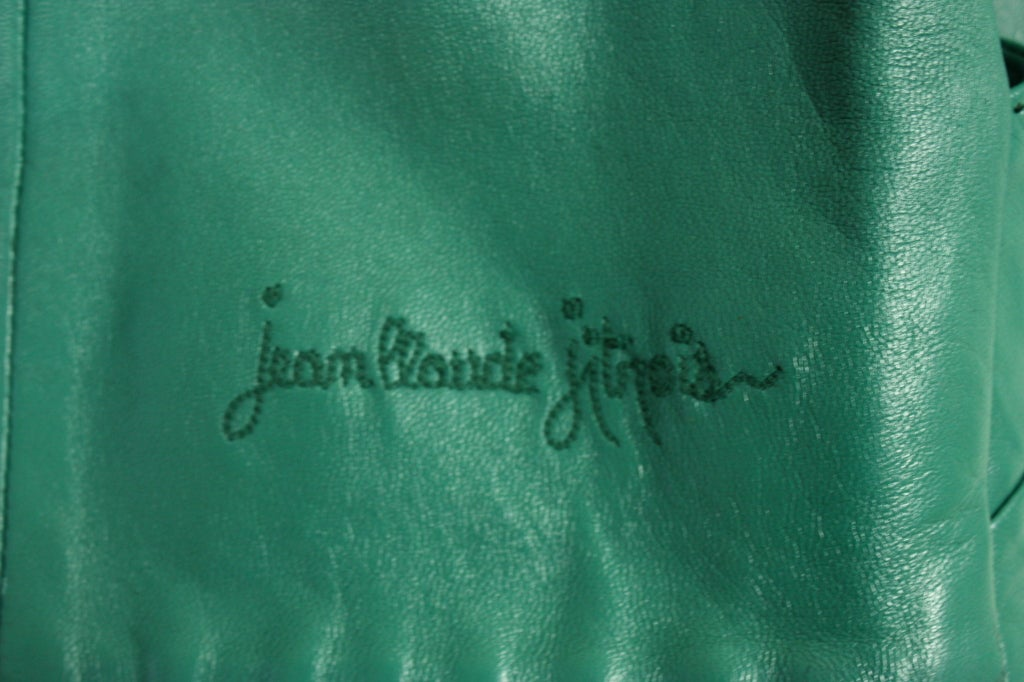 Jean Claude Jitrois Green Leather Suit with Broadtail Collar 8