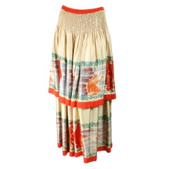 Chloe Tiered Skirt with Figural Print