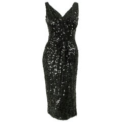 1950's Ceil Chapman Sequined Cocktail Dress