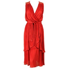 1970's Radley Red Pleated Dress