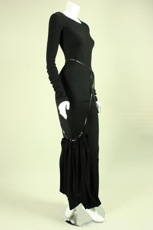 Black Jean-Paul Gaultier Bias Cut Gown with Gathered Hem For Sale