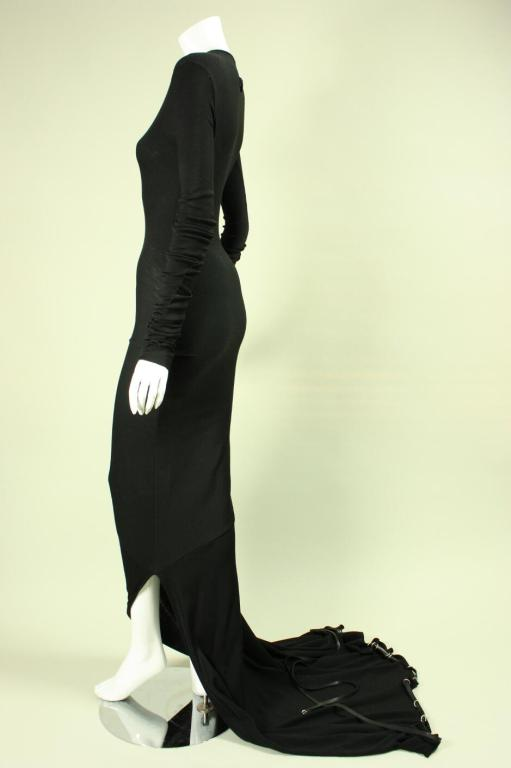 Jean-Paul Gaultier Bias Cut Gown with Gathered Hem For Sale 1