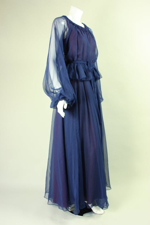 Purple 1970's Jean Varon Blue Chiffon Gown For Sale