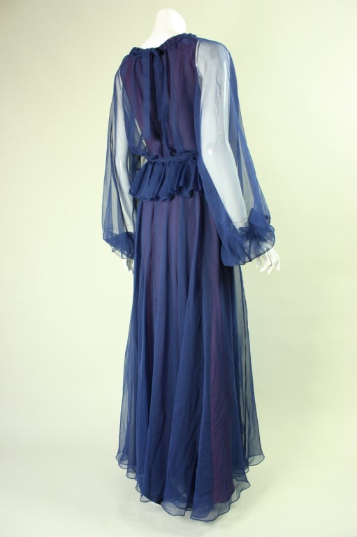 1970's Jean Varon Blue Chiffon Gown In Excellent Condition For Sale In Los Angeles, CA