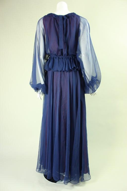 Women's 1970's Jean Varon Blue Chiffon Gown For Sale