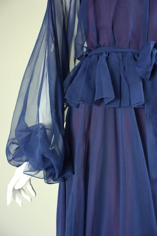 1970's Jean Varon Blue Chiffon Gown For Sale 1