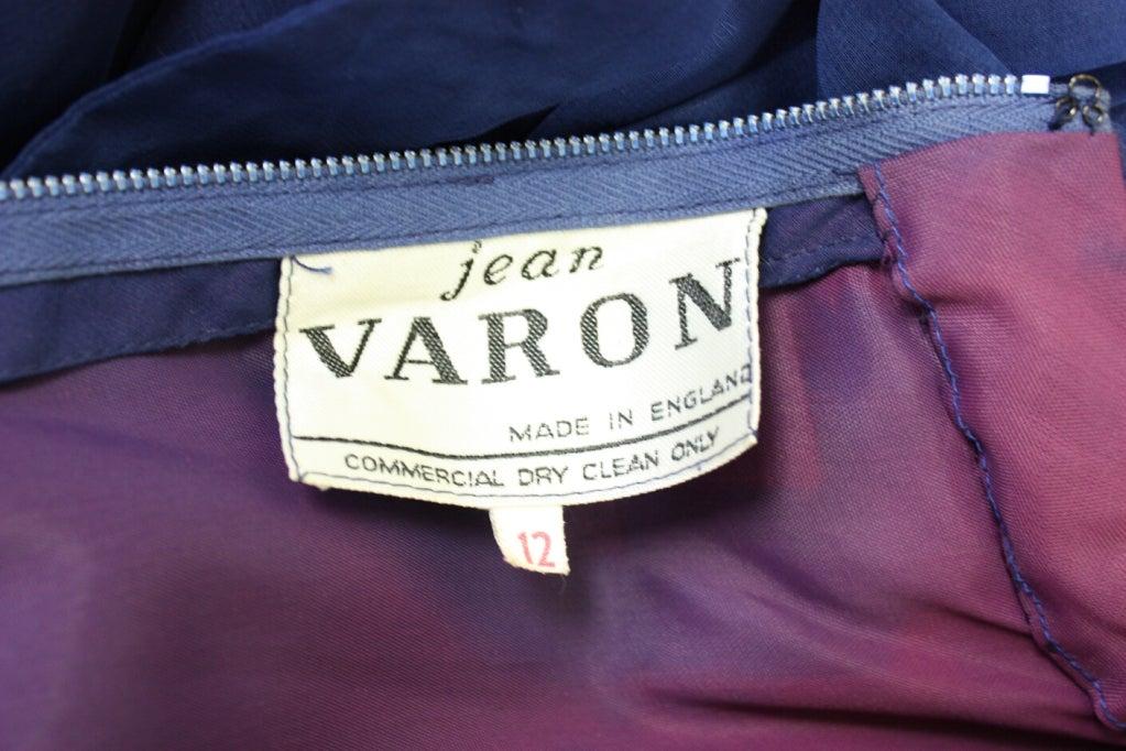 1970's Jean Varon Blue Chiffon Gown For Sale 2