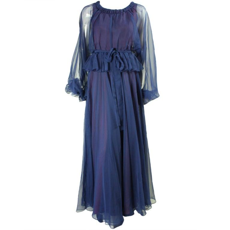 1970's Jean Varon Blue Chiffon Gown