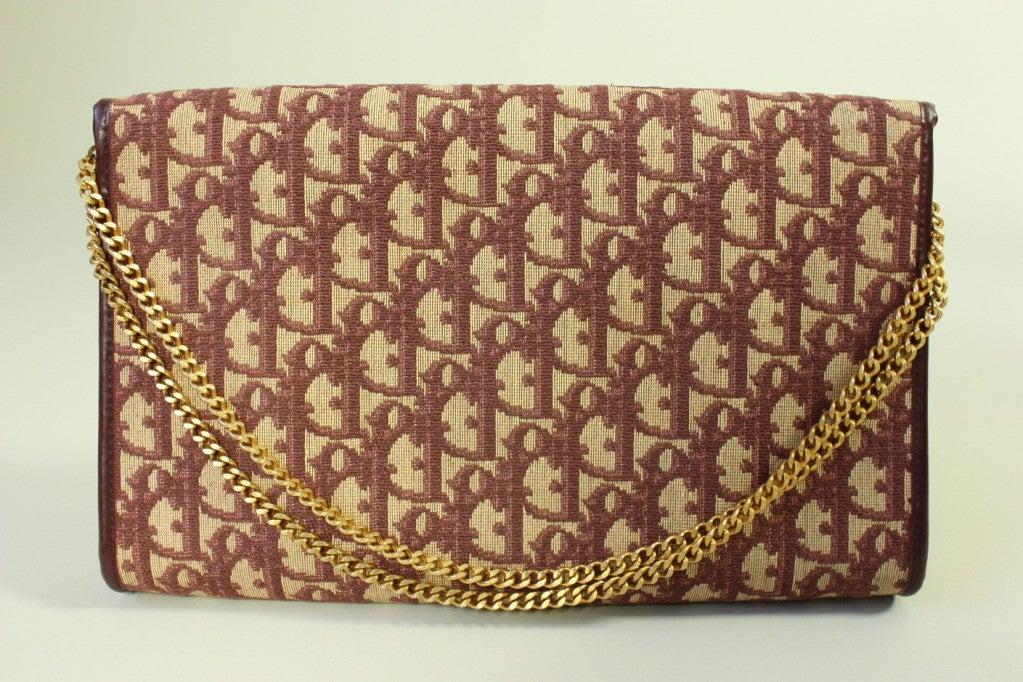 Brown 1970's Christian Dior Monogram Handbag & Change Purse For Sale