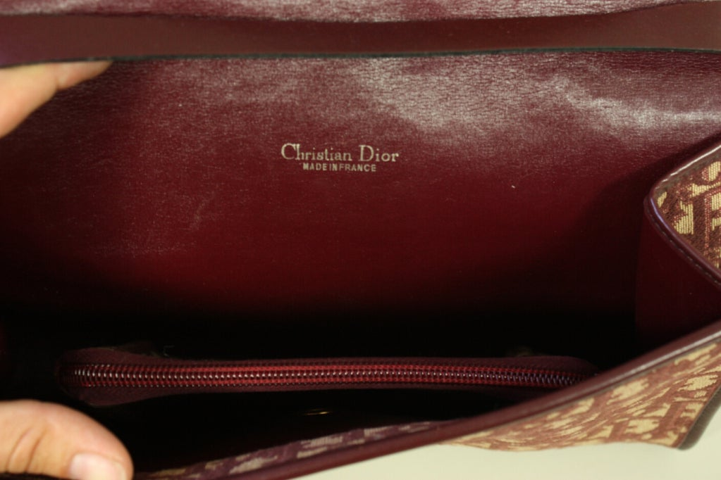 Women's 1970's Christian Dior Monogram Handbag & Change Purse For Sale