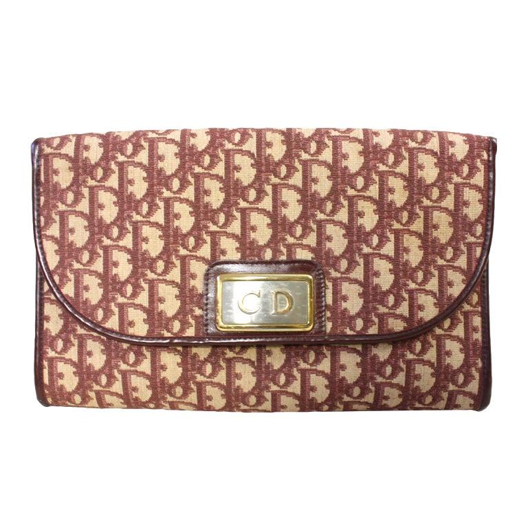 1970's Christian Dior Monogram Handbag & Change Purse For Sale