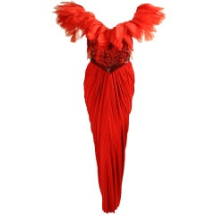 Ruben Panis Beaded Gown with Tulip Neckline