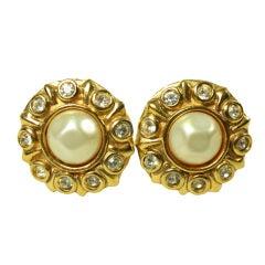 Chanel Rhinestone & Pearl Earrings