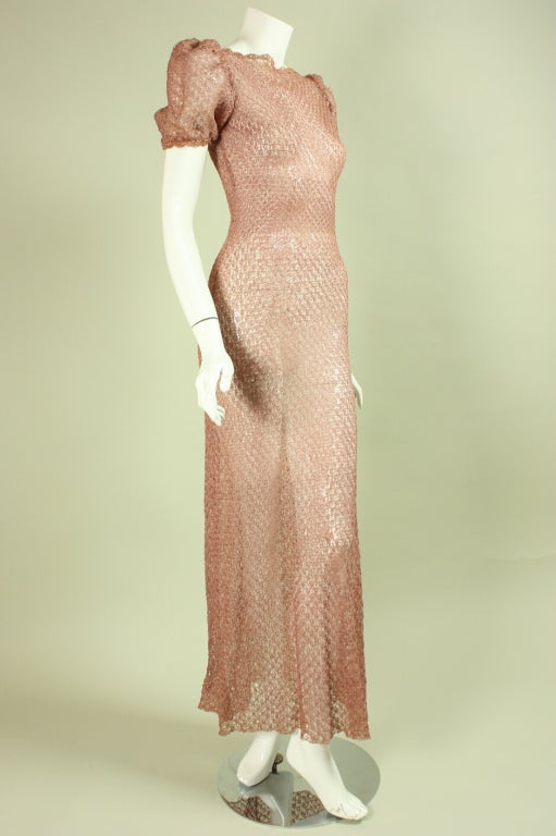 Vintage 1940's Crocheted Ribbon Dress 2