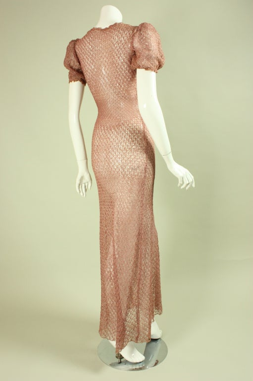 Vintage 1940's Crocheted Ribbon Dress 3