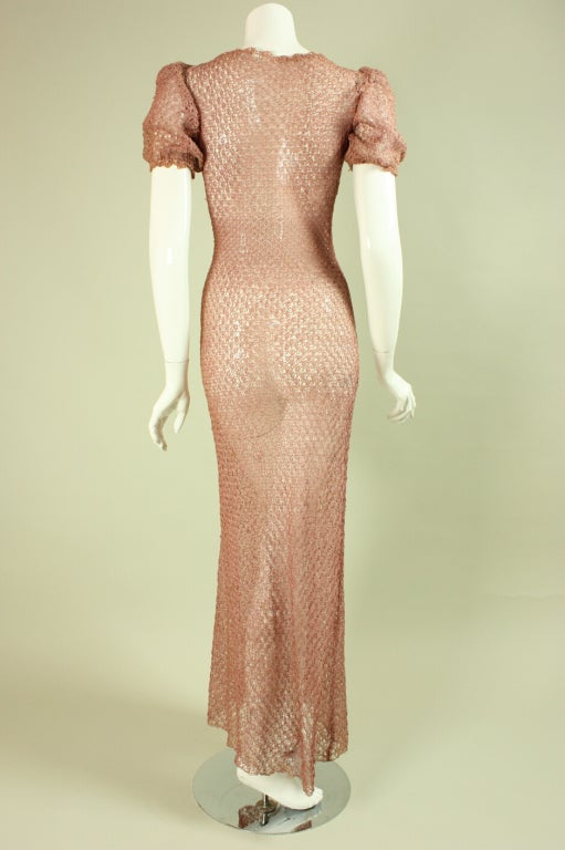 Vintage 1940's Crocheted Ribbon Dress 4