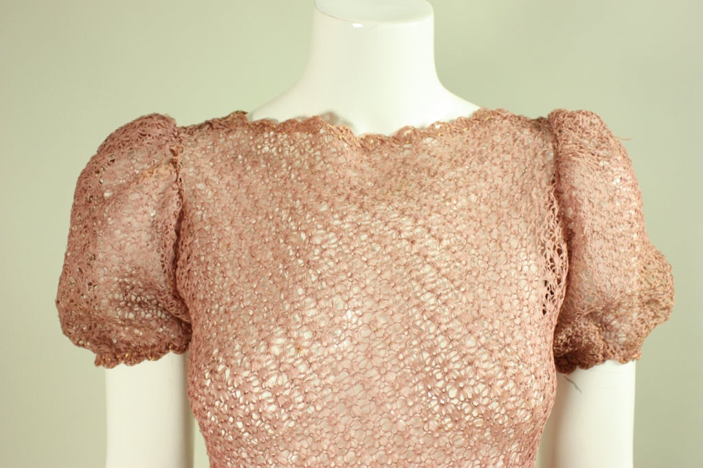 Vintage 1940's Crocheted Ribbon Dress 5