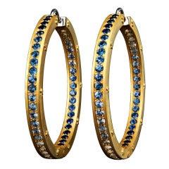 Blue Sapphires Hoop Earrings