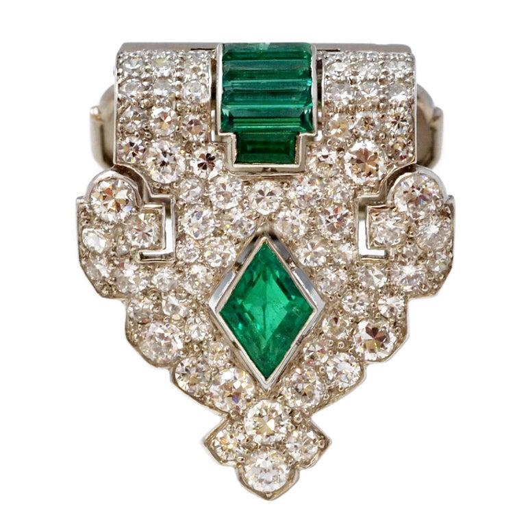 Cartier Art Deco Emerald And Diamond Dress Clip At 1stdibs