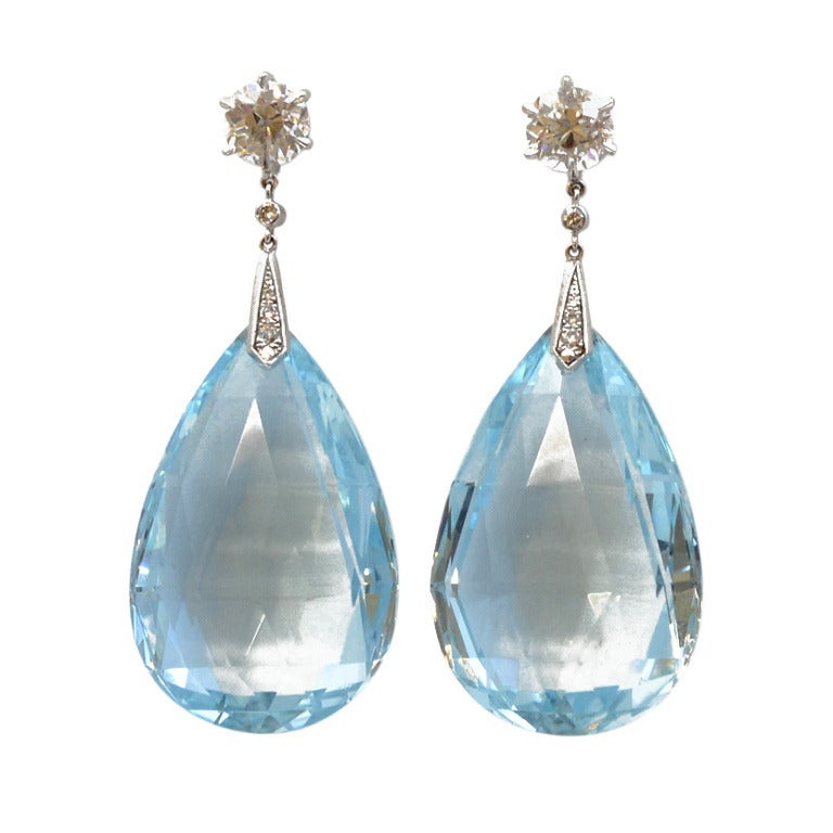 aquamarine briolette and diamond drop earrings at 1stdibs 90s Fashion Clip Art 1990s Clothes Clip Art