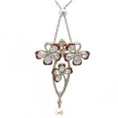 Edwardian Garland Style Ruby Diamond Pearl Platinum Gold Clover Pendant