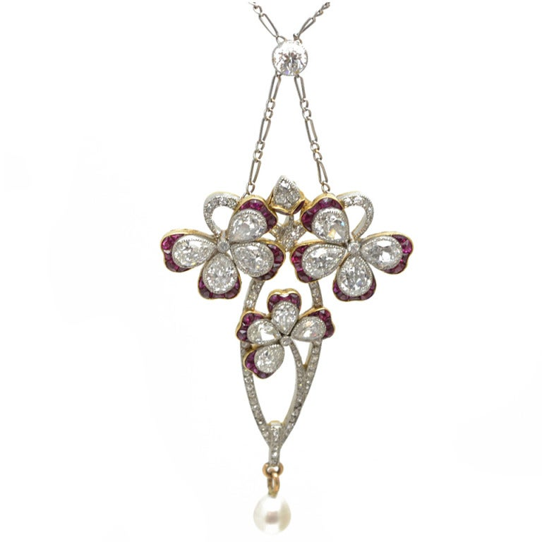Edwardian Garland Style Ruby Diamond Pearl Platinum Gold Clover Pendant For Sale