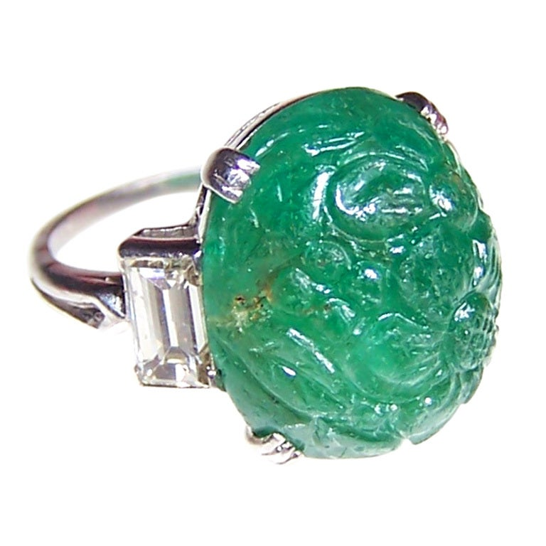 deco carved emerald ring at 1stdibs