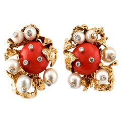 WEBB CORAL, PEARL, & DIAMOND EARRINGS