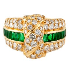 MAUBOUSSIN EMERALD AND DIAMOND RING