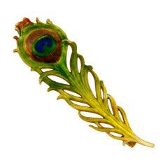 Art Nouveau Enamel Peacock Quill