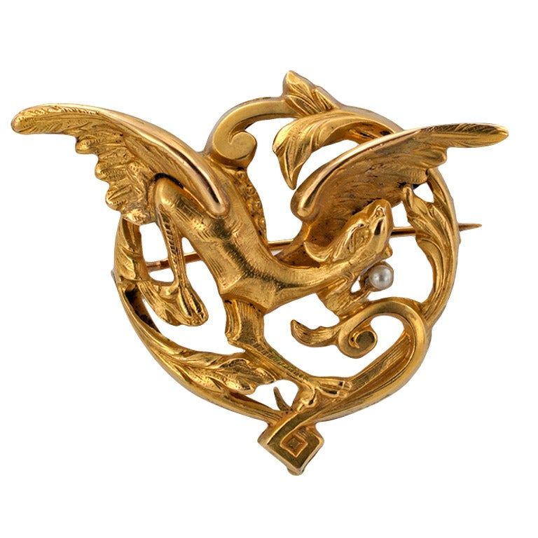 Art Nouveau Griffin Pin at 1stdibs