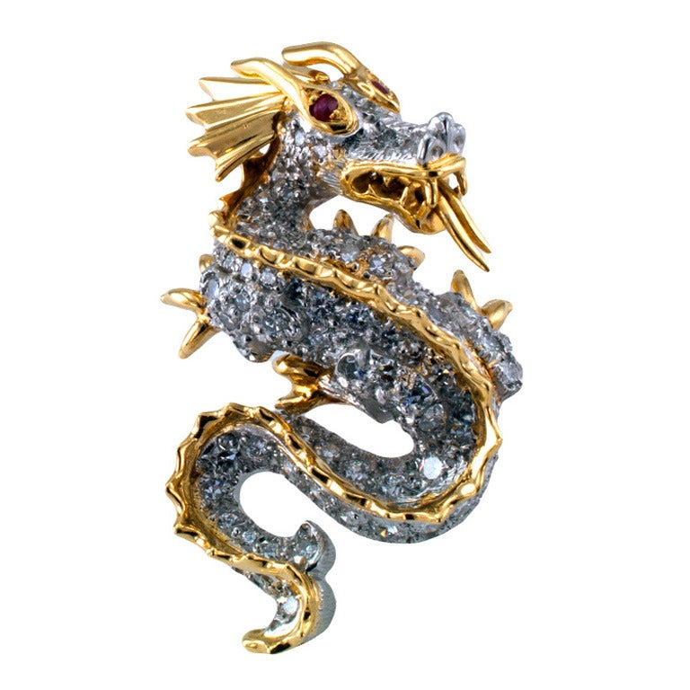 Tiffany Diamond Dragon Pin/Pendant at 1stdibs