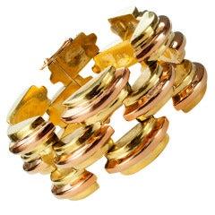 Chunky Two-Tone Retro Gold Bracelet