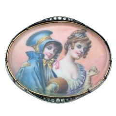 1890s Antique Miniature Portrait Brooch