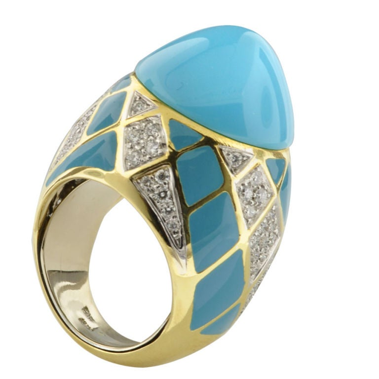 turquoise enamel and ring at 1stdibs