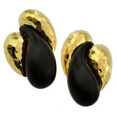 Henry Dunay Ebony Wood & Gold Ear Clips
