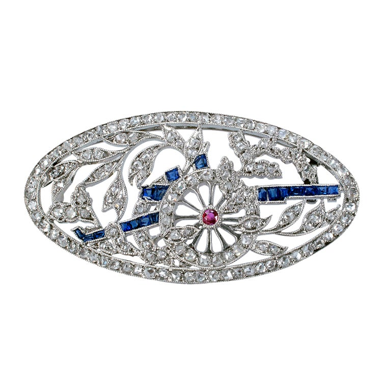 Antique Rose Cut Diamond Sapphire And Ruby Cannon Brooch