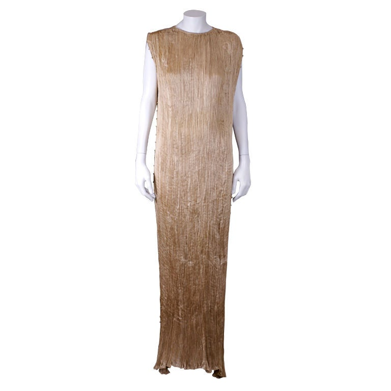 Mariano Fortuny Cafe au Lait  Delphos Gown For Sale