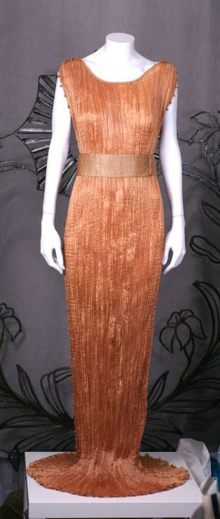 Orange Mariano Fortuny Apricot  Delphos Gown For Sale