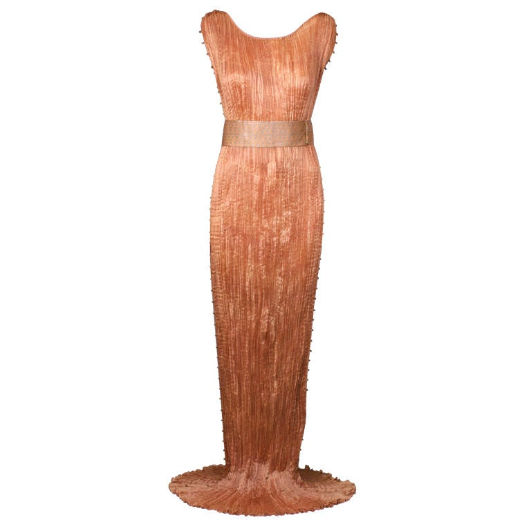 Mariano Fortuny Apricot  Delphos Gown For Sale