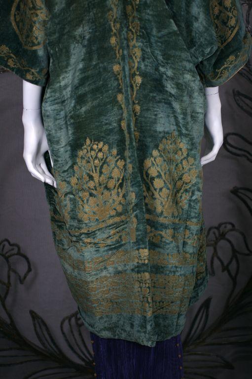Mariano Fortuny Green Stencilled Velvet Long Coat 6