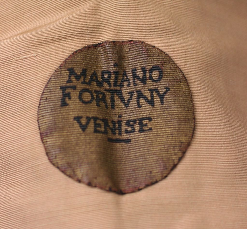 Mariano Fortuny Green Stencilled Velvet Long Coat For Sale 5