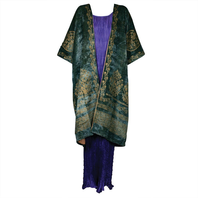 Mariano Fortuny Green Stencilled Velvet Long Coat 1