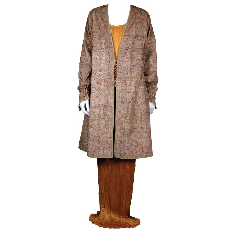 Mariano Fortuny Pink Stencilled Velvet Persian Style Coat