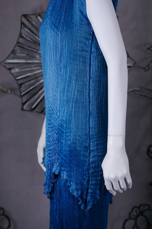 Mariano Fortuny Cobalt Blue Peplos Gown For Sale 1