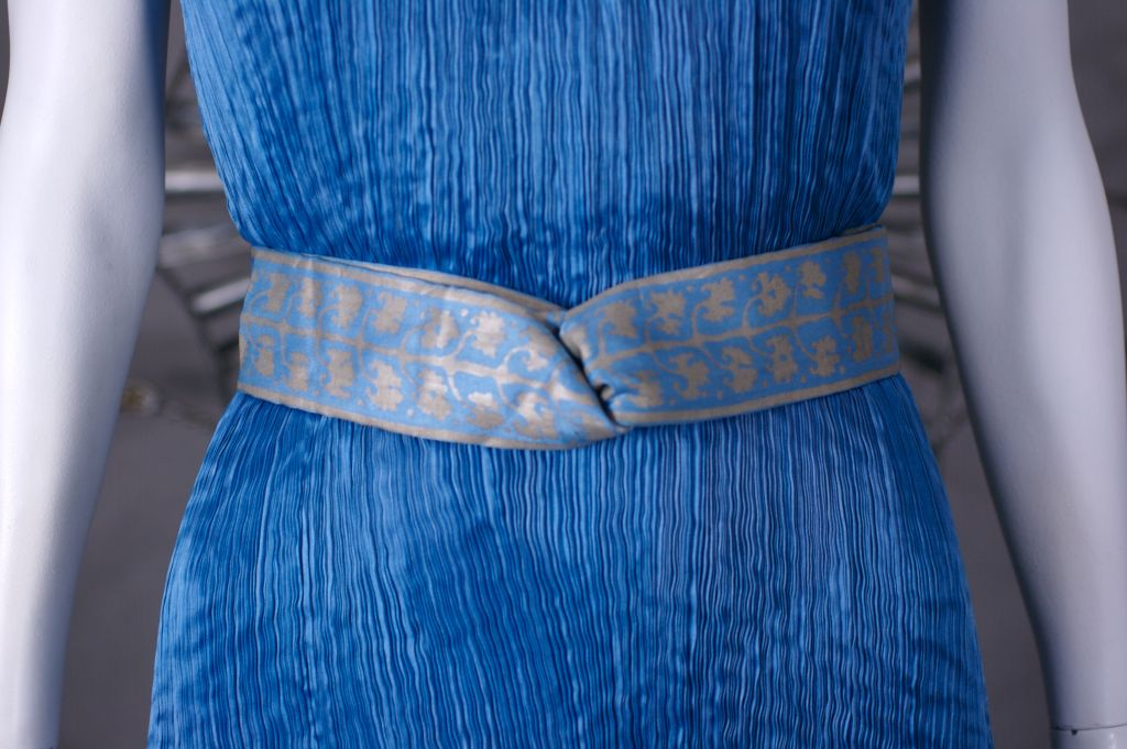 Mariano Fortuny Cobalt Blue Peplos Gown For Sale 3