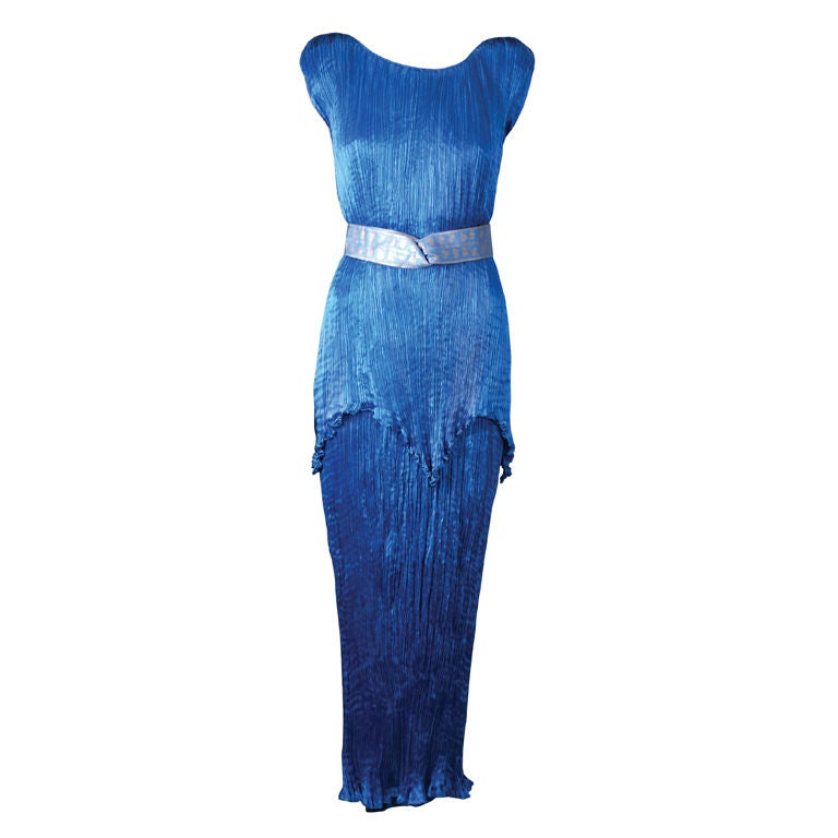 Mariano Fortuny Cobalt Blue Peplos Gown For Sale
