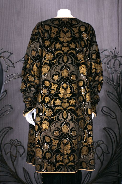 Mariano Fortuny Black Stencilled Velvet Persian Style Coat 4
