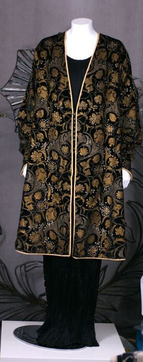Mariano Fortuny Black Stencilled Velvet Persian Style Coat 5