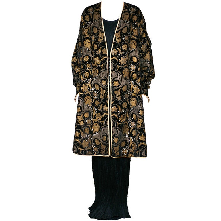 Mariano Fortuny Black Stencilled Velvet Persian Style Coat